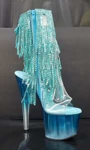 "7"" high heel blue frosted fringe ankle boot size 6"
